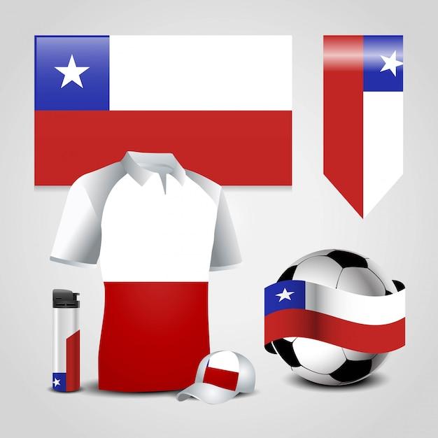 チリ国旗 Premiumベクター