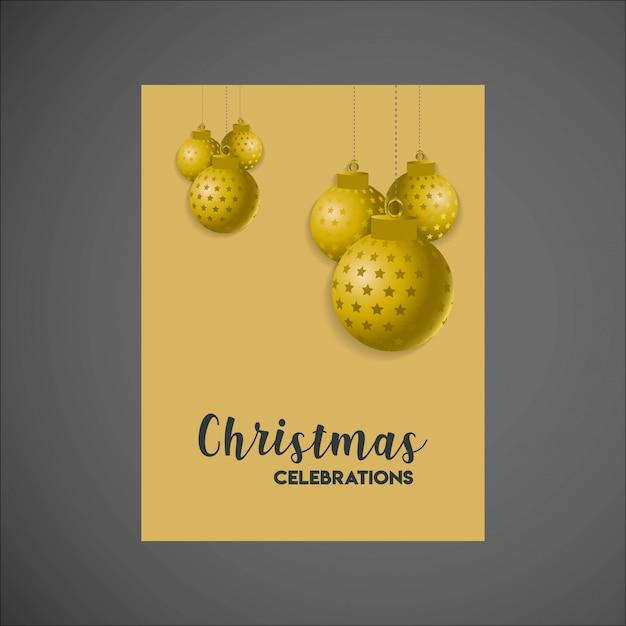 ゴールデンハンギングボールメリークリスマスポスターテンプレート 無料ベクター