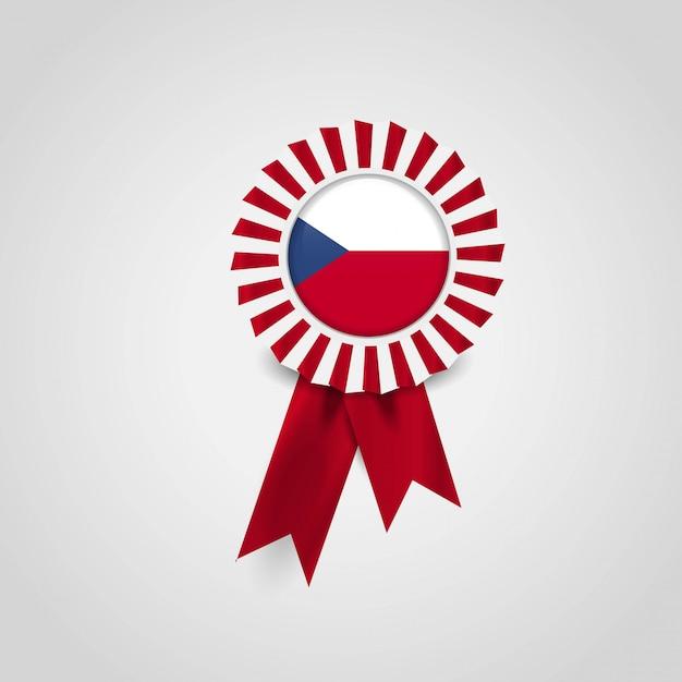 Значок баннерной ленты флагов чехии Premium векторы