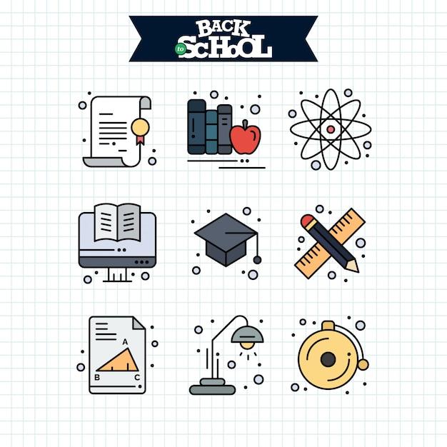 Снова в школу значок. набор иконок линии образования и обучения. Бесплатные векторы