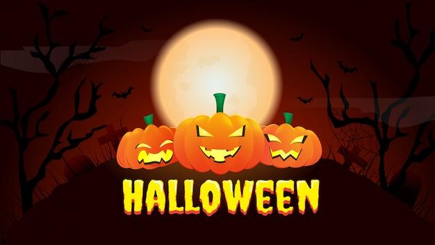 Счастливый хэллоуин баннер или приглашение на вечеринку фон с ночью Premium векторы