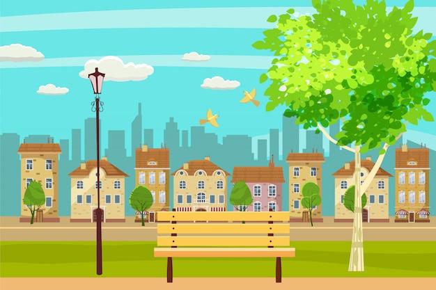 春の風景都市公園。屋外のベンチ。鳥が歌います。青空 Premiumベクター