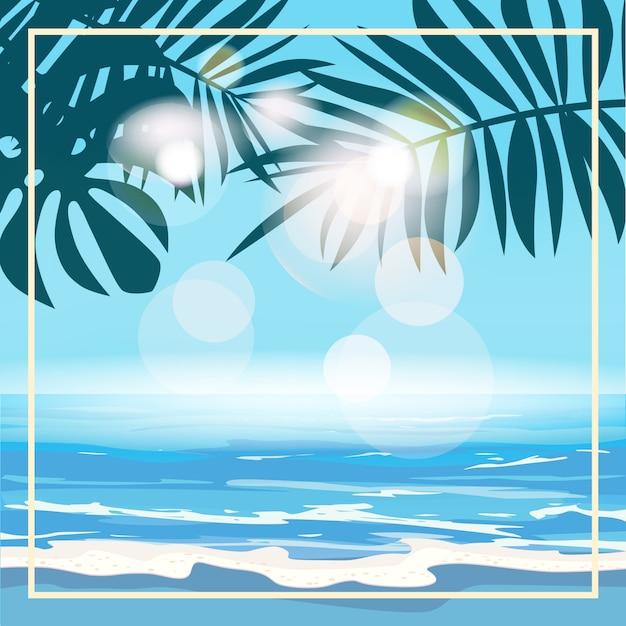 エキゾチックなヤシの葉と植物、海岸波サーフィン海、海と夏の熱帯背景テンプレート Premiumベクター