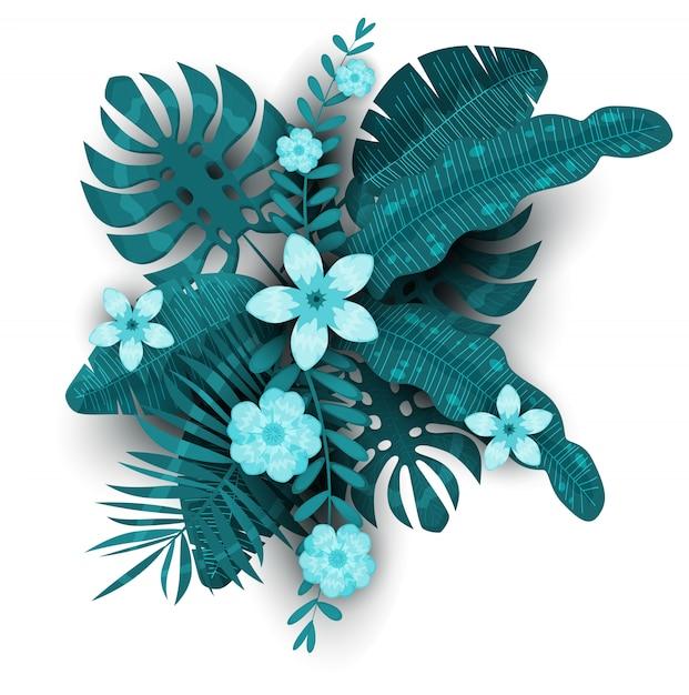 夏のトレンディなテンプレートのエキゾチックな植物とハイビスカスの花熱帯背景 Premiumベクター