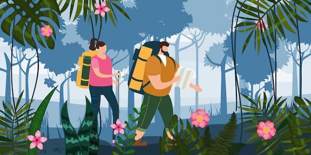 地図とバックパックを屋外の観光活動を行う観光客かわいいカップル。森の木の山の風景。冒険旅行、ハイキングウォーキング旅行観光野生の自然トレッキングフラット漫画 Premiumベクター