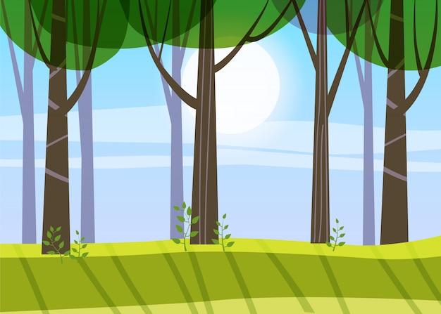 美しい春の森の木々、緑の葉、風景、茂み、トランクのシルエット Premiumベクター