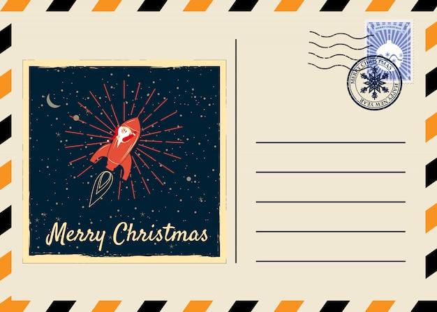 スタンプとレトロなマークのクリスマスと新年のはがき。サンタクロースロケット Premiumベクター