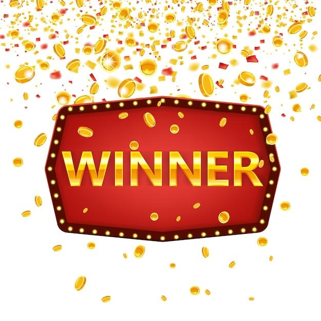 勝者フレームラベルバナーテンプレート。白熱灯、黄金のお祝いフレーム記号でお祝いのビンテージフレームを獲得します。 Premiumベクター