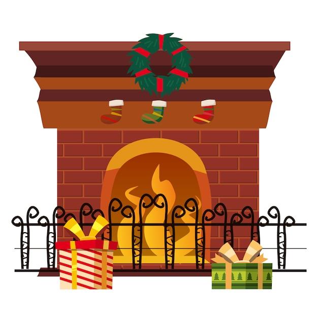 休日の装飾とギフトで分離されたクリスマス暖炉。 Premiumベクター