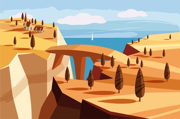 Фантастический горный пейзаж. мост, горная деревня, залив, деревья, океан, море, мультяшном стиле, векторная иллюстрация Premium векторы