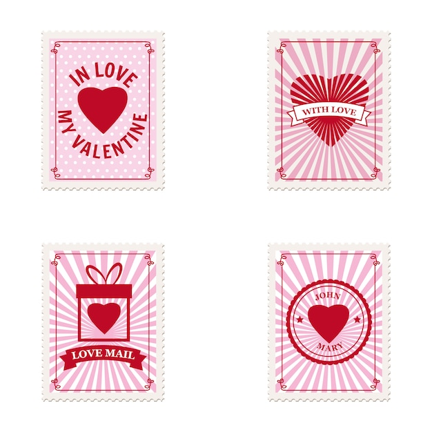 Набор валентина почтовых марок сердца, коллекция для открытки, почтовый конверт Premium векторы