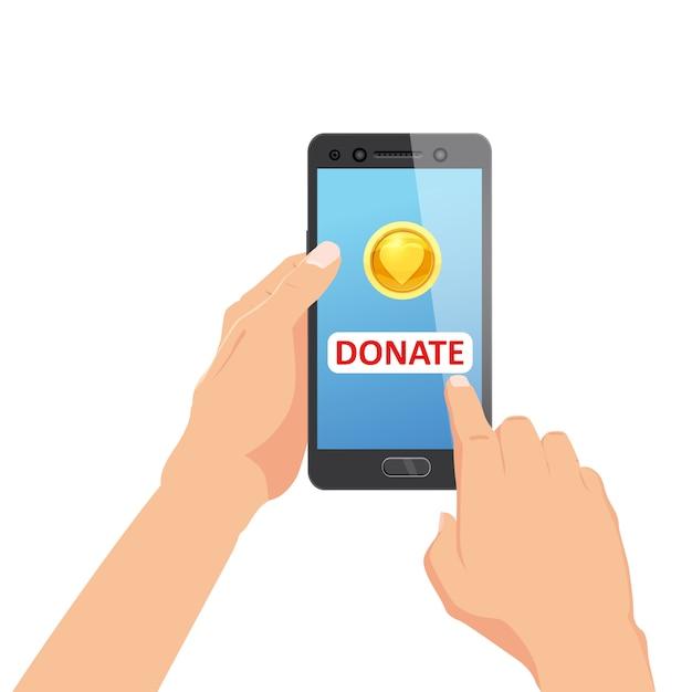 オンライン決済コンセプトで寄付。ゴールドコインとスマートフォンの画面上のボタンを寄付します。スマートフォンを手に持った Premiumベクター