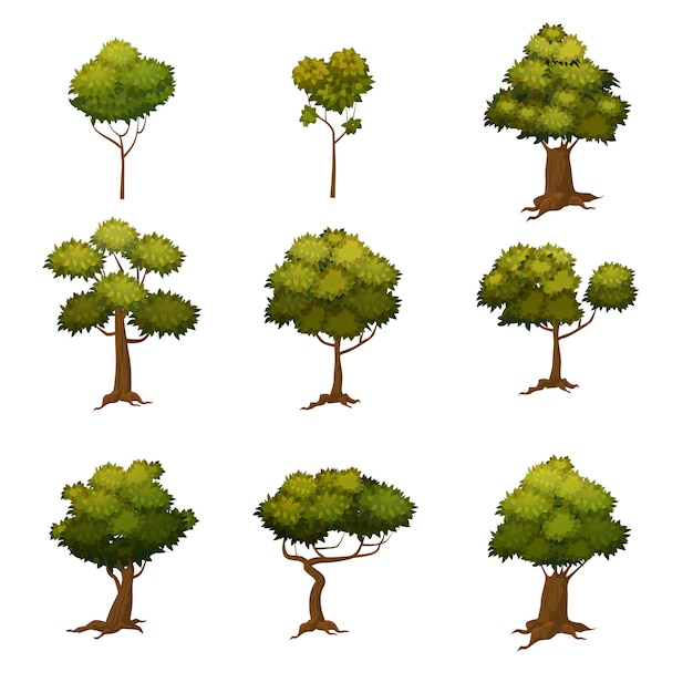 Набор различных мультяшном стиле деревьев, векторная иллюстрация Premium векторы