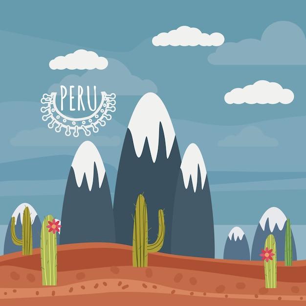 Перу пейзаж горы, кактус, мультяшном стиле, изолированные, вектор, иллюстрация Premium векторы