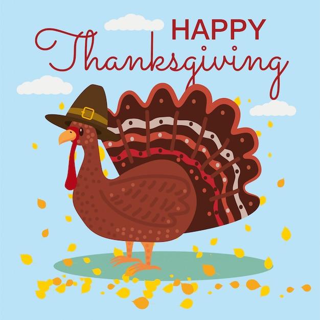 漫画トルコと紅葉と幸せな感謝祭の祭典。イラスト・デザイン Premiumベクター