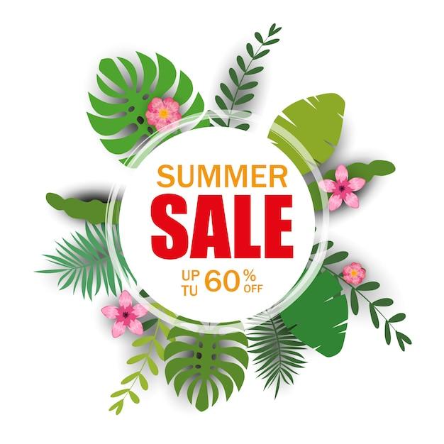 ヤシの葉、ジャングルの葉と夏販売テンプレートバナー。花の熱帯の夏 Premiumベクター