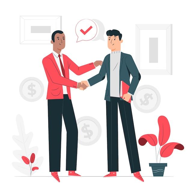 Иллюстрация концепции коммерческой сделки Бесплатные векторы