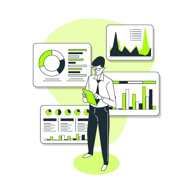 Иллюстрация концепции отчета о данных Бесплатные векторы