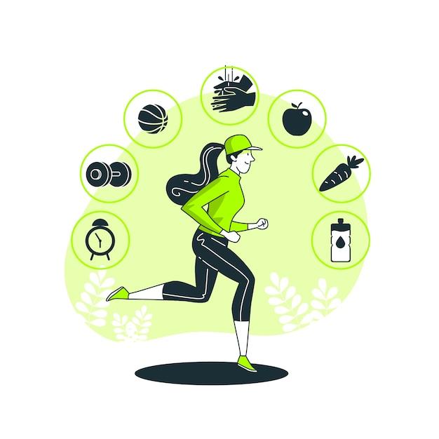 健康的な習慣の概念図 無料ベクター