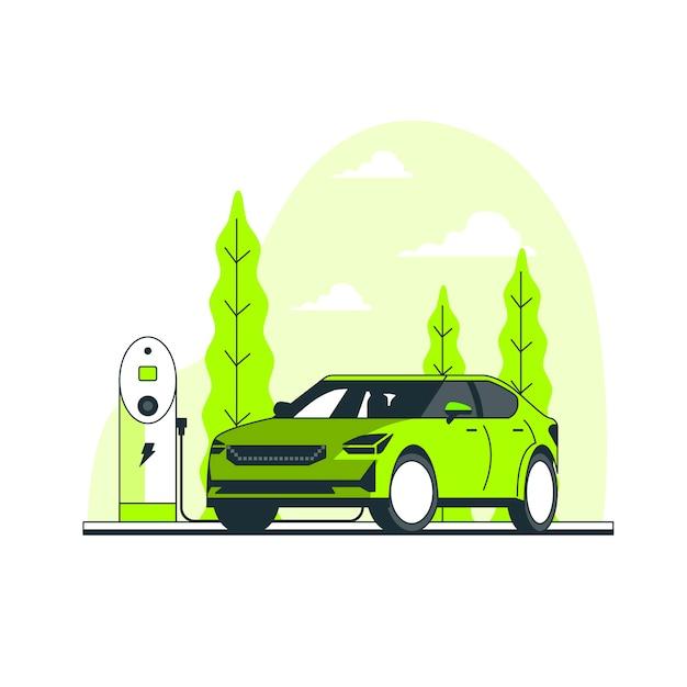 Иллюстрация концепции электрического автомобиля Бесплатные векторы