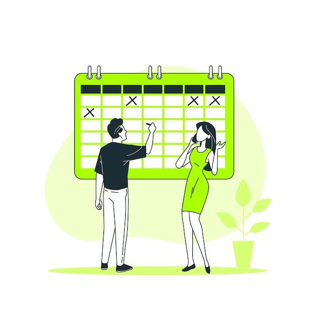 Иллюстрация концепции событий Бесплатные векторы
