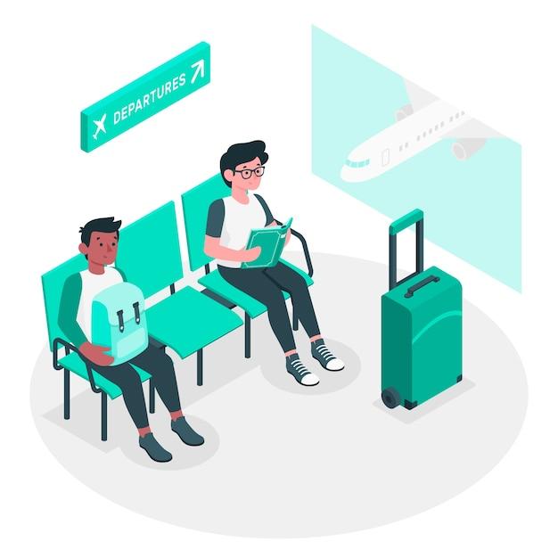 Иллюстрация концепции аэропорта Бесплатные векторы