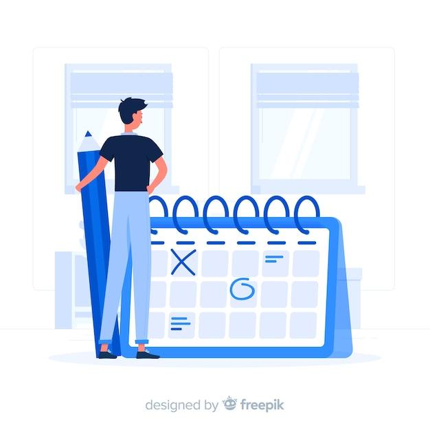 Календарь концепции иллюстрации Бесплатные векторы