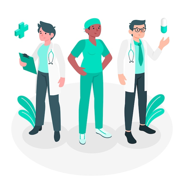 Иллюстрация концепции врачей Бесплатные векторы