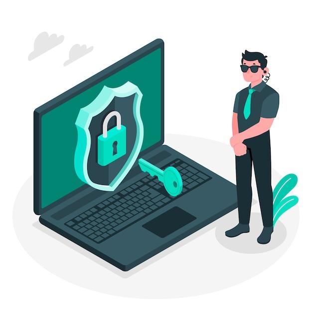 Иллюстрация концепции безопасности Бесплатные векторы