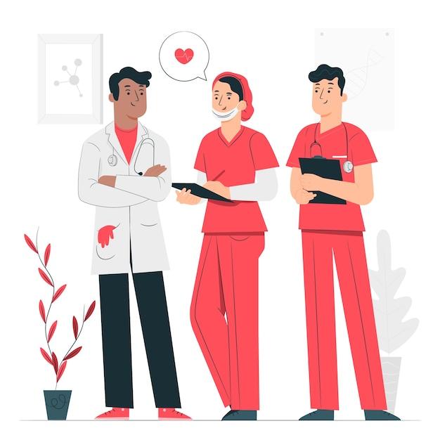 Иллюстрация концепции команды профессионала здоровья Бесплатные векторы