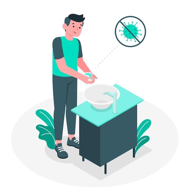 Иллюстрация концепции мытья рук Бесплатные векторы