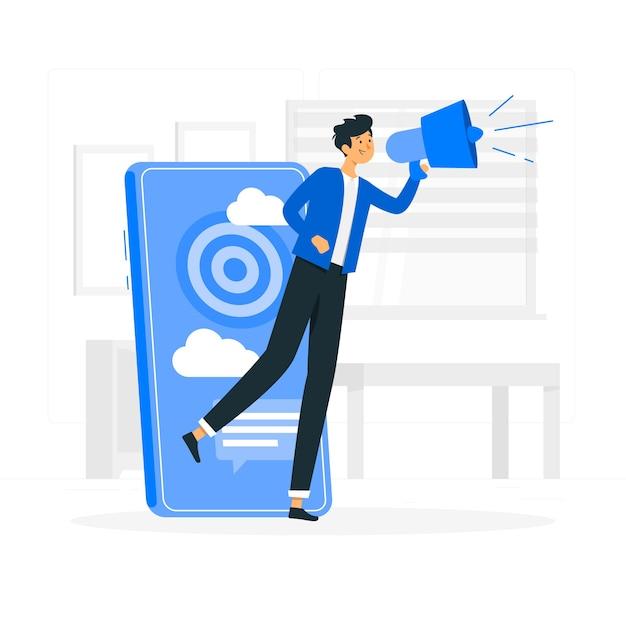 Иллюстрация концепции мобильного маркетинга Бесплатные векторы
