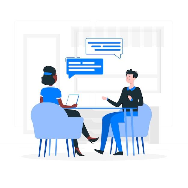 Иллюстрация концепции интервью Бесплатные векторы