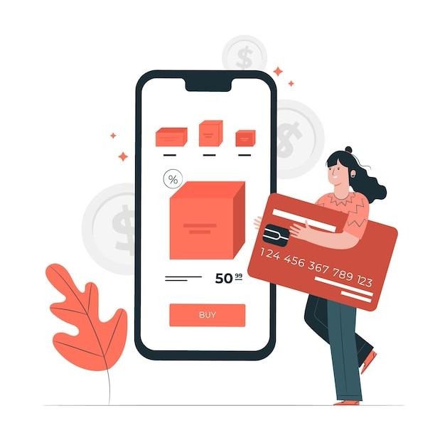 Иллюстрация концепции кредитной карты Бесплатные векторы