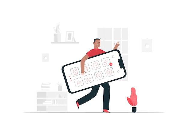 Мобильная концепция иллюстрации Бесплатные векторы