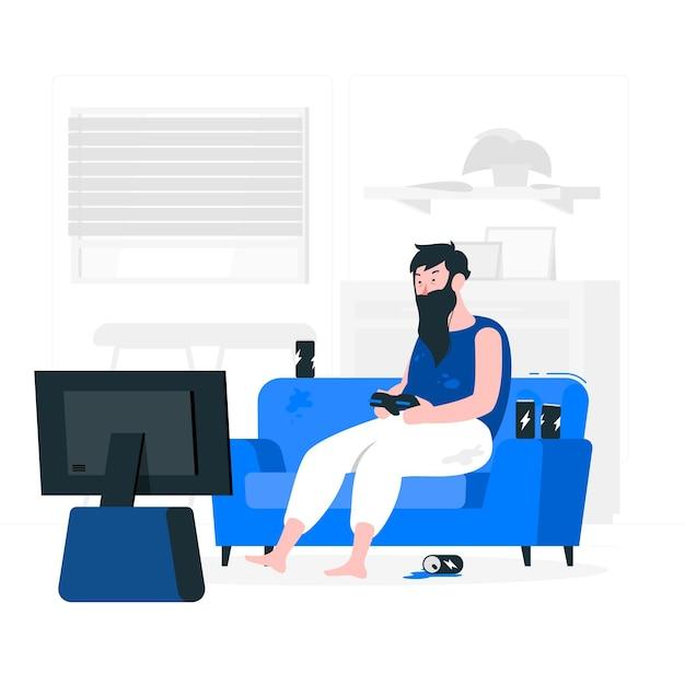 Иллюстрация концепции наркомании онлайн-игр Бесплатные векторы