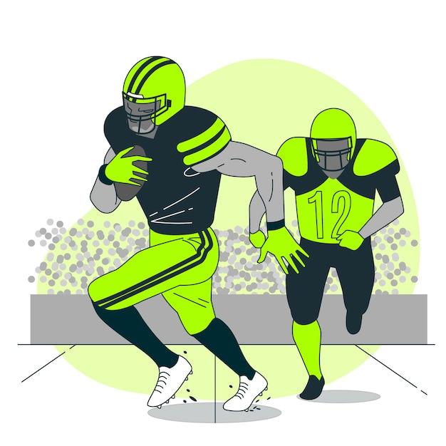 アメリカンフットボールの概念図 無料ベクター