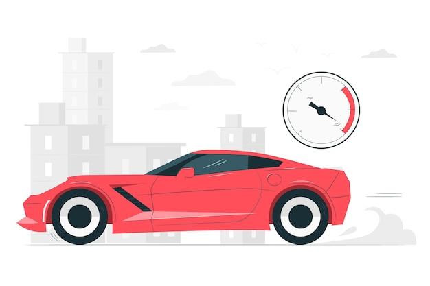 Иллюстрация концепции быстрого автомобиля Бесплатные векторы