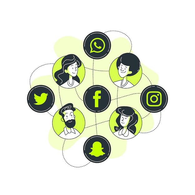 Иллюстрация концепции социальных медиа Бесплатные векторы