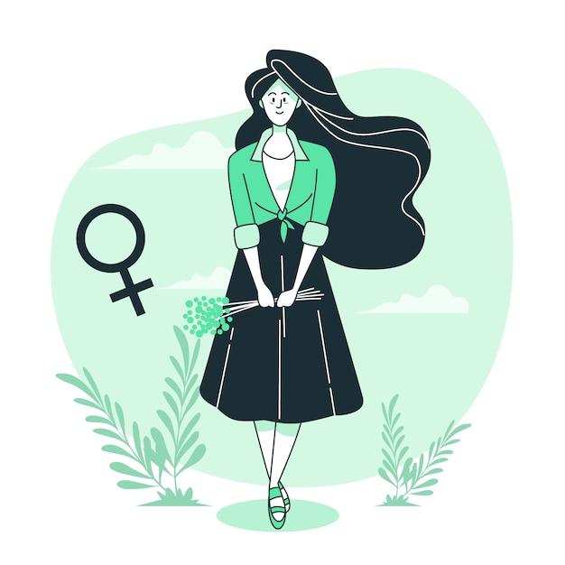 Женщина иллюстрации принципиальной схемы Бесплатные векторы