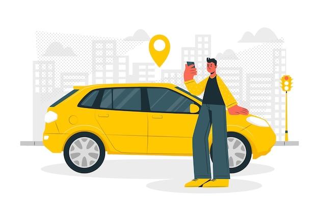 Городской водитель концепции иллюстрации Бесплатные векторы