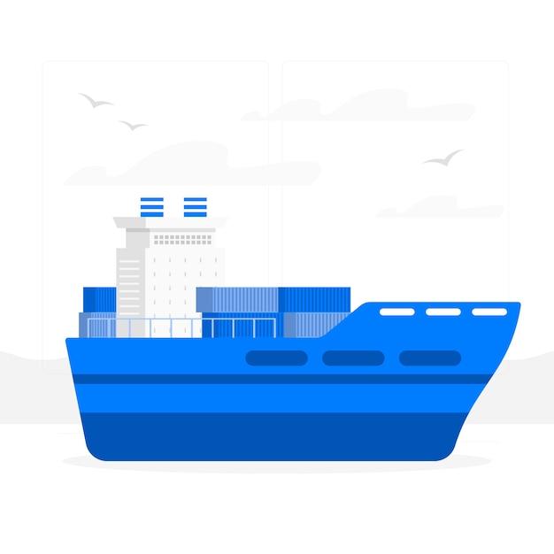 コンテナー船の概念図 無料ベクター