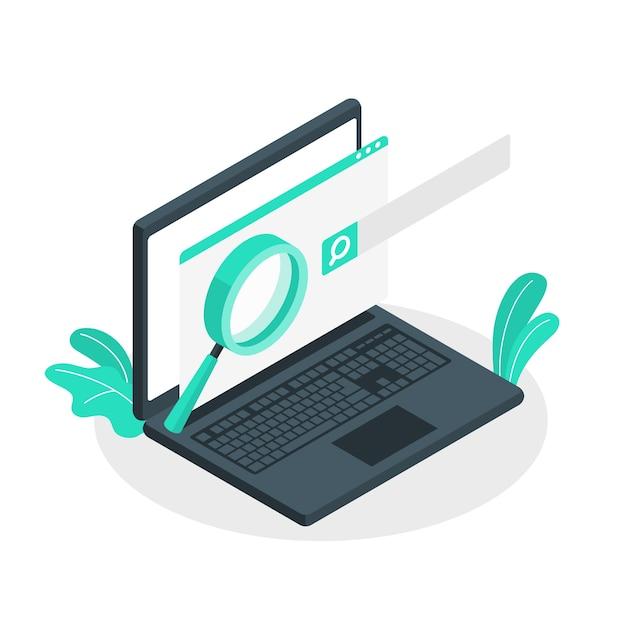 Иллюстрация концепции поисковой системы Бесплатные векторы