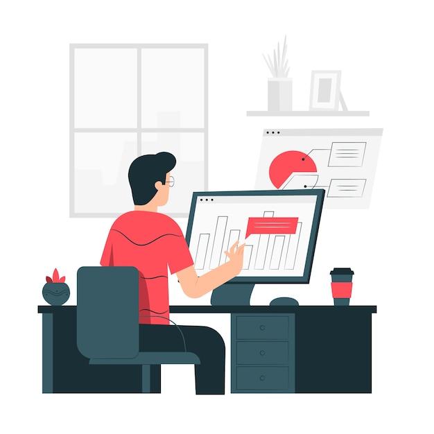 Иллюстрация концепции статистики браузера Бесплатные векторы