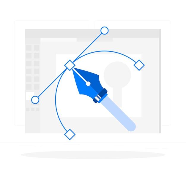 Иллюстрация концепции графического дизайнера Бесплатные векторы