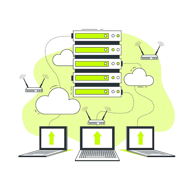 Иллюстрация концепции сервера Бесплатные векторы