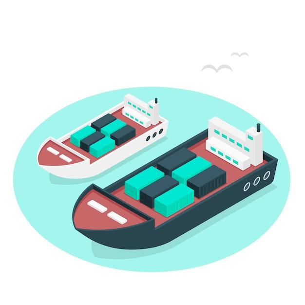 Иллюстрация концепции контейнеровоза Бесплатные векторы