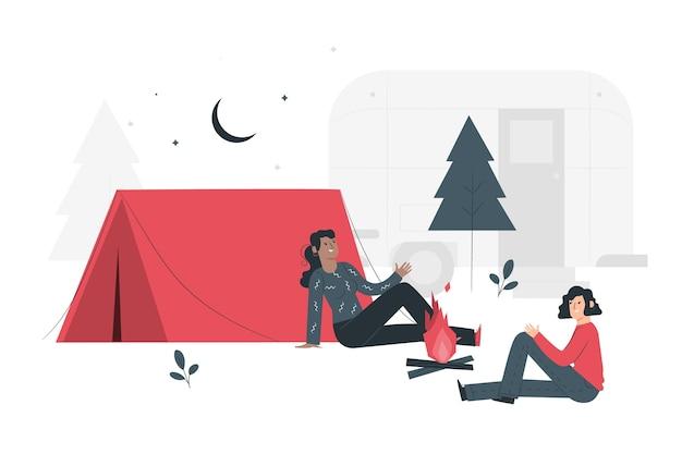 キャンプの概念図 無料ベクター