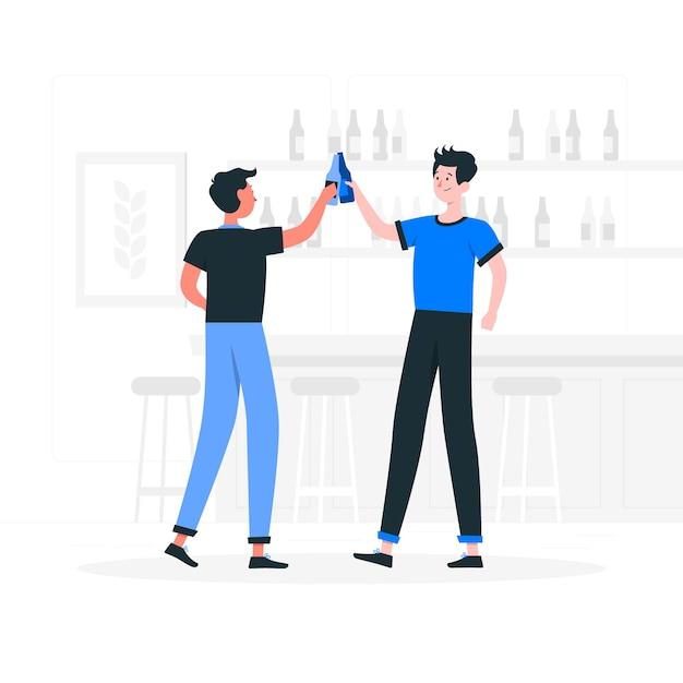 ビールのお祝いの概念図 無料ベクター