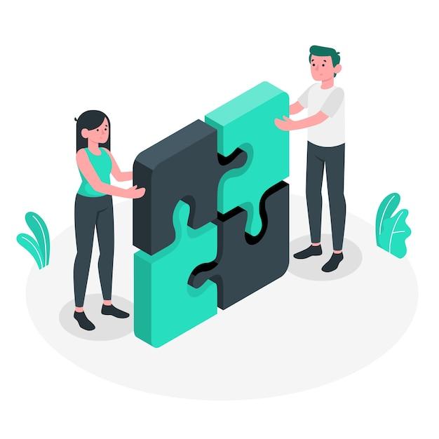 Иллюстрация концепции сотрудничества Бесплатные векторы